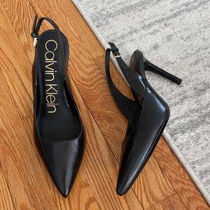 Calvin Klein Pointed Toe Leather Slingbacks